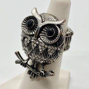 Vintage Silver Pewter Rhinestone OWL Ring …